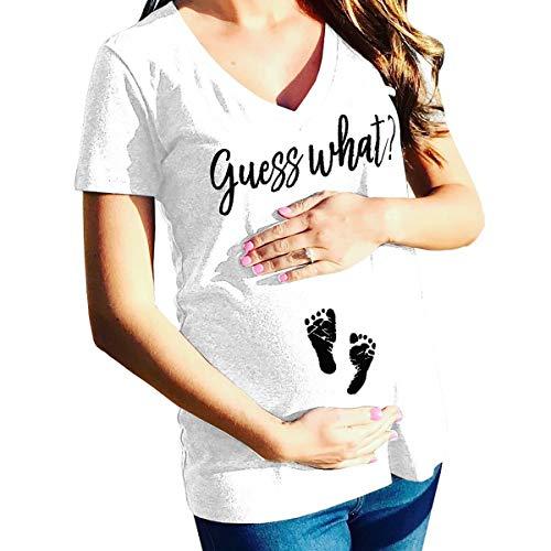 Sommer Schwangere Frauen T-Shirt mit V-Ausschnitt Lustig Guess What Print Mutterschaft Schwangerschaft Casual Tee Tops (Color : White, Size : XXXL)