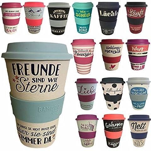 LS Design Öko Coffee to Go Kaffe Tee Becher eCoffee Bamboo Bambus Cup Freunde sind wie Sterne