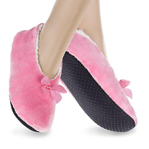 1 Paar Kinder Ballerina Plüsch-Hausschuhe - pink - 27-29