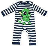 HARIZ Baby Strampler Streifen Baby Drache Schlüpft Aus Ei Süß Tiere Dschungel Inkl. Geschenk Karte Navy Blau/Washed Weiß 12-18 Monate