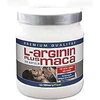 GloryFeel L-Arginin + Maca Kapseln Hochdosiert | 300 Kapseln mit reinem Arginin Maca Pulver + OPC, Vitamin B12 und B5 (Pantothensäure) + Zink