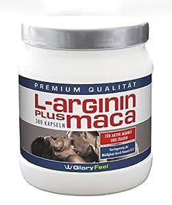 GloryFeel L-Arginin + Maca Kapseln Hochdosiert   300 Kapseln mit reinem Arginin Maca Pulver + OPC, Vitamin B12 und B5 (Pantothensäure) + Zink