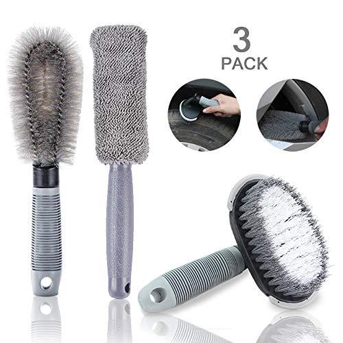 Wcbdut kit di spazzole per la pulizia delle ruote dell'auto, spazzola per la pulizia di cerchi in lega e pneumatici, pulisci cerchioni per auto, moto o biciclette