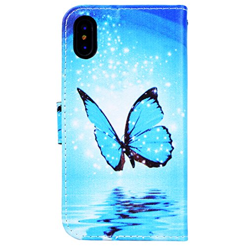 WE LOVE CASE iPhone X Hülle Wallet Schnee Wolf Im Retro Style Muster iPhone X / 10 Lederhülle Blau Handyhülle Flip Case Hülle Leder Klappbar Tasche Elegant Backcover PU Intern TPU Silikon Weiche Handy butterfly blue