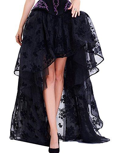 Burvogue Falda gótica Vintage de Encaje Alto y bajo Steampunk para Mujer Negro Negro ((34/36 ES) Small