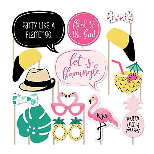 Naisicatar Foto-Booth Partyzubehör Hawaii-Stil Flamingo Serie 20 Stück Photobooth Masquerade Papierteile selbstrebig auf Stäben für Hochzeiten Weihnachten Geburtstag Beach Party (Booth-ideen Photo Halloween-party)