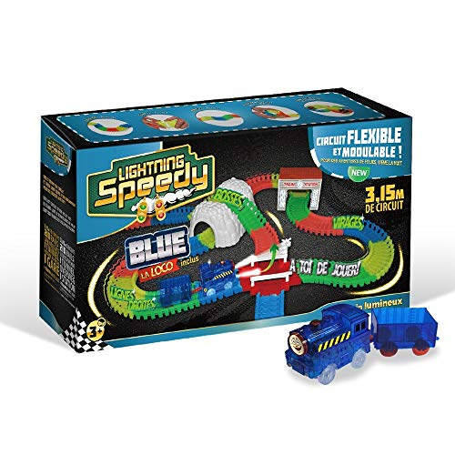 LIGHTNING SPEEDY Blue la Loco, Train Lumineux avec Rails Flexibles, modulables et Plein d'accessoires - Bleu