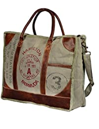 Vintage Military Canvas Leather Handbag Travel Bag Office Bag Laptop Bag Handmade Bag By Priti