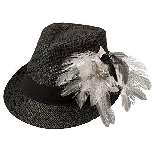 Alpenflüstern Damen Strohhut Trachtenhut schwarz mit Feder-Clip ADV03000010 weiß