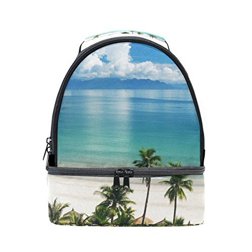 COOSUN Strand-Szene Lunch Bag Dual-Deck Isolierte Lunch Cooler Tote Bag verstellbaren Riemen Griff für Männer Teens Jungen Mädchen Groß Multi -