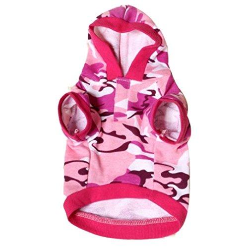Neu Hund Kapuzenpulli Kleidung, Hmeng Haustier Katze Sweatshirt Camo Tarnung Mäntel Kapuzenpullover Kostüm für Halloween Weihnachten (M, Heißes Rosa)