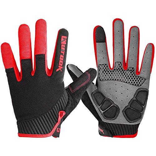 KUTOOK Herren Fahrradhandschuhe Mit Gel Vollfinger MTB Handschuhe für das Radfahren(Rot,L)