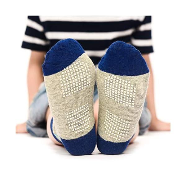 YANWANG 12 Pares de Calcetines de Algodón Antideslizantes Con Agarre para Bebés y Niños Pequeños 2