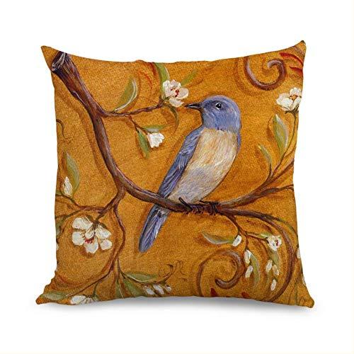 Koore Floral Birds Dekokissenbezüge Dekorative Dekokissenbezüge 45 x 45 cm für Kinderzimmer Mädchen (Baumwolle Bunte Blatt König)