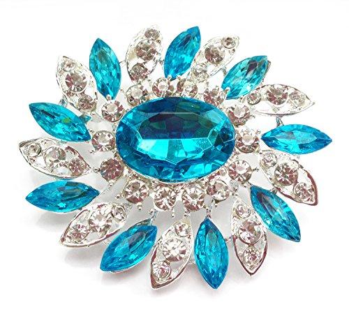 Elegante sunglory grandi fiori Strass cristallo spilla argento turchese (BR026)