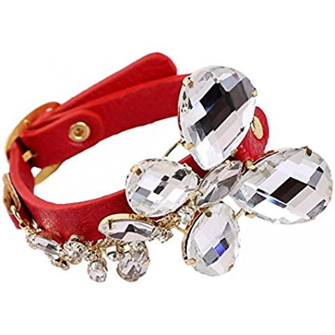 Farfalla in cristallo bling fashion punk rock in pelle Bracciale in pelle donna lb1582