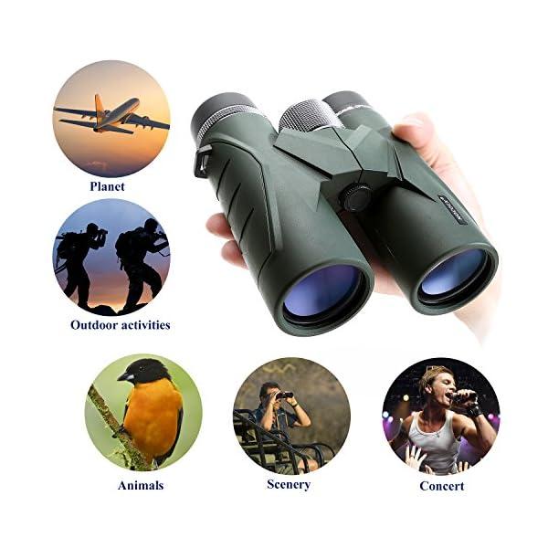 visitas tur/ísticas prism/áticos Profesionales HD compactos para observaci/ón de Aves observaci/ón de Estrellas Camping Viajes conciertos Binoculares 10x42 para Adultos