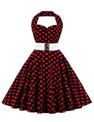 VKStar®Retro Chic ärmellos Kinderkleid 1950er Audrey Hepburn Kleid / Mädchen Kleid Rockabilly Swing Kleid Kommunionkleid Rote Punkte 9-10 (Mädchen Swing-kleid)