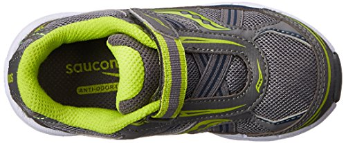 Saucony Boys Baby Ride Sneaker (Toddler/Little Kid),Grey/Lime,10.5 M US Little Kid Grey/Lime