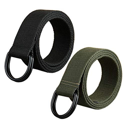 ITIEZY Militär Leinwand Gürtel Stoffgürtel Outdoor Jeansgürtel für Damen und Herren mit Doppel D-ringe Schnalle 2 PCS, Gr.-Länge: 120cm, 2 Pack(schwarz + Armeegrün)