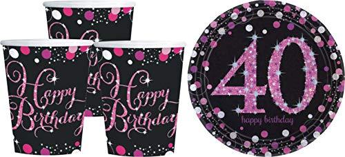 AV Andrea Verlag Geburtstagsdeko Zum 40. Geburtstag | 16 Teile All in One Set Becher Teller Pink Rosa Lila Schwarz Silber Party Deko Happy Birthday Dekoration (Pink, Schwarz Und Party Silber Dekorationen)