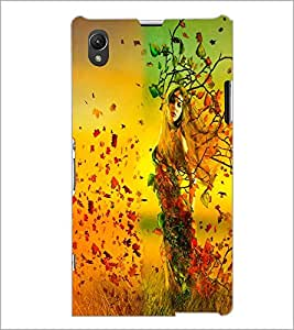 PrintDhaba Leaf Girl D-2409 Back Case Cover for SONY XPERIA Z1 (Multi-Coloured)