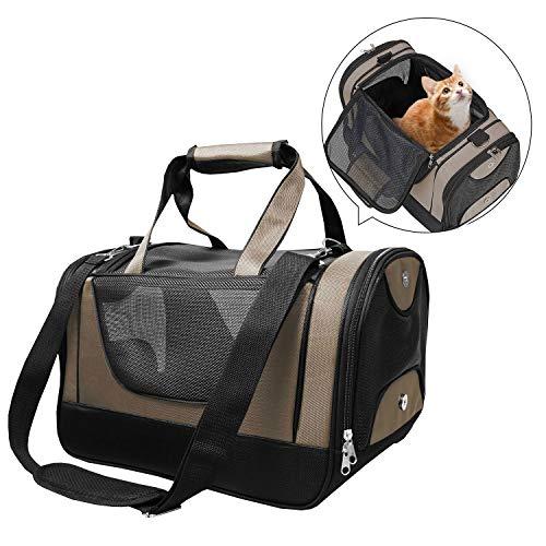 PETTOM Trasportino Cane Gatto Resistente Borsa Tracolla Pieghevole Respirabile con Fondo Rigido in Pile Pet Carrier per Animale Taglia Piccola in Viaggio Aereo Auto Treno Beige