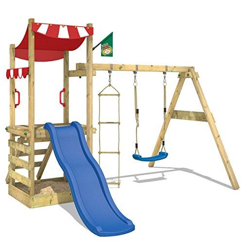 WICKEY Holz-Spielturm FunFlyer Spielhaus Kletterturm mit Schaukel Sandkasten Kletterleiter, blaue Rutsche + rote Plane