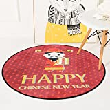 ZXHJK Chinesische Kultur Teppich Matte Traditionelle Neujahr Teppich Cartoon Fortuna Runde Decke Slip Wearable Home Decoration 100X100Cm