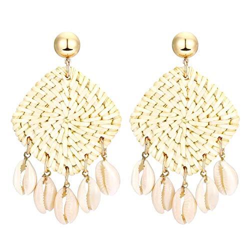 Homeofying Handgefertigte Damen- und Mädchen-Ohrringe aus Rattan, Muschelform, geflochten, baumelnd, Schmuck, Geschenk-Ohrringe für Frauen weiß