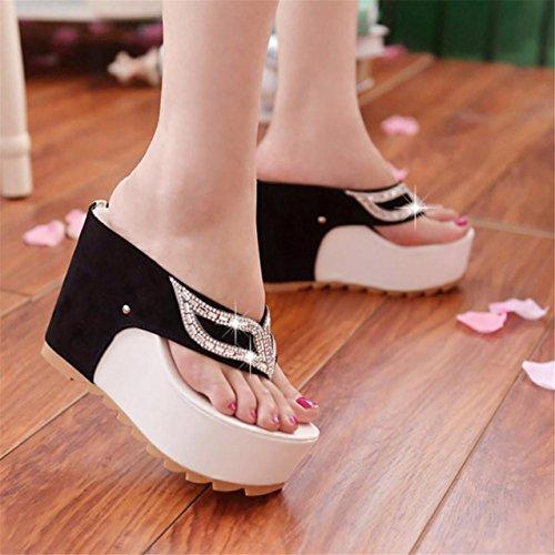 LHWY Damen Fashion Sommer Strass flach Flip Flops Sandalen Loafers Bohemia White