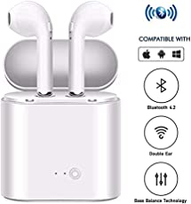 Meya Happy Android iOS Mobile Phone Handfree Airpods Wireless Bluetooth Handsfree Headphone Compatible with Both Apple iPhone And Android Mobile Phones, Comes With Built-in Charger Case For Earphones Earpods