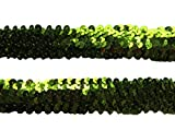 YYCRAFT Großes 2,5 cm elastisches Paillettenband für Kleider, Nähen, Verzierungen, Haarbänder, Basteln, dunkelgrün, Width: 1