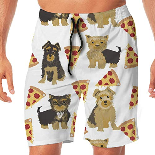 Yorkie Pizza, Yorkshire Terriers Pizza Funny Cute Dog Novelty Food Print For Yorkie Owners Best Dogs For Home Dec Surfing Pocket Elastic Waist Men's Beach Pants Shorts Beach Shorts Swim Trunks X-Large - Dog Food Yorkie