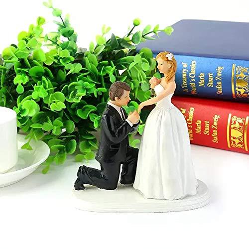 Cake topper statuine matrimonio decorazione torta torte nuziali resina elegante sposo si inginocchia davanti la sposa