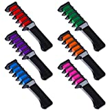 Faburo 6Pcs Hair Chalk Comb Shimmer Temporary Hair Color Cream with Disposable Gloves