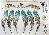Magnifiques Tatouages Temporaires éphèmere plumes vertes et or Tatouages éphemères couleurs et doré PROMO TATOUAGES (si vous désirez achetez plusieurs planches : 2 achetées au choix = 2 gratuites en plus au choix. 3 achetées au choix = 3 gratuites en plus au choix. 4 achetés au choix = 4 gratuites en plus au choix. 5 achetés au choix = 5 gratuites en plus au choix). TATOUAGES METALLIQUES TEMPORAIRES DOREE ET ARGENTEE NON TOXIQUE. Waterproof.