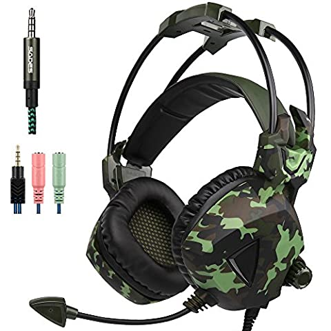 Gaming Headset für NEUE Xbox ein PS4 PC Laptop Mac Tablette Smartphone iPad iPod iPhone, Sades SA931 Stereo 3,5 mm Kopfhörer mit Mikrofon In-line Lautstärkeregelung von AFUNTA