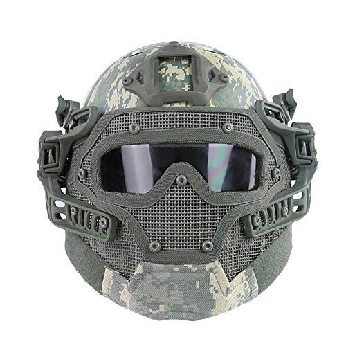 KSS Fast PJ Typ Tactical Helm mit Maske und Schutzbrille für Freizeit Sport Paintball Sturzhelm Unisex Camouflage Outdoor (Airsoft-schutzbrillen Acu)
