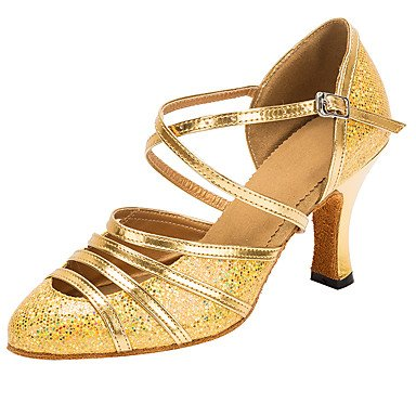 Silence @ Chaussures de danse pour femme Paillettes latine/moderne Sandales Talon professionnel/intérieur doré doré