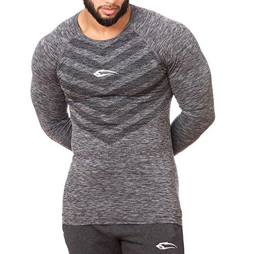 SMILODOX Slim Fit Longsleeve Herren | Seamless - Funktionsshirt für Sport Fitness Gym & Training | Langarmshirt - Trainingsshirt Langarm - Sportshirt mit Aufdruck, Farbe:Schwarz, Größe:M