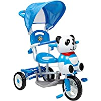 Globo Toys Globo - 36956 Vitamina_G Light Blue Panda Metal Tricycle with Handle and Sunshade