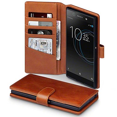 Terrapin, Kompatibel mit Sony Xperia XA1 Ultra Hülle, [ECHT LEDER] Brieftasche Case Tasche mit Standfunktion Kartenfächer und Bargeld - Cognac EINWEG