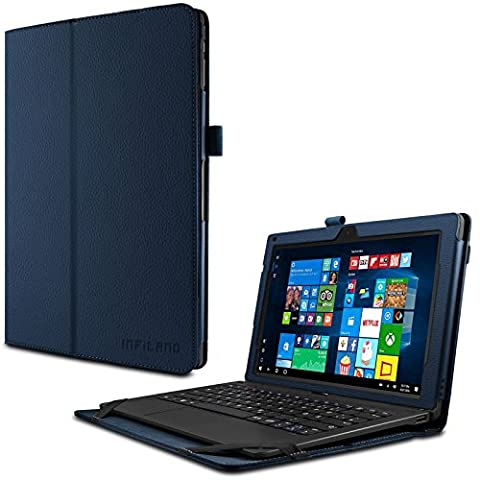 TrekStor SurfTab twin 11.6 Hülle Case -Infiland Slim Fit Folio PU-lederne dünne Kunstleder Schutzhülle Cover Tasche für TrekStor SurfTab twin 11.6 Volks-Tablet, 29,5 cm (11.6 Zoll 2in1 Tablet-PC) (mit Auto Schlaf / Wach Funktion,Tablet und Tastatur sind nicht entgehaltet) (Dunkleblau)