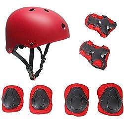 Protecciones Patinaje Bicicleta Infantil, SKL Casco Rodilleras y Coderas Con Muñequeras Para Niños Niñas Tamaño Ajustable (Rojo)