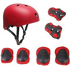 Idea Regalo - Set di casco, ginocchiere, gomitiere e guanti in gel per bambini, per hoverboard, scooter, BMX e bicicletta (Rosso)