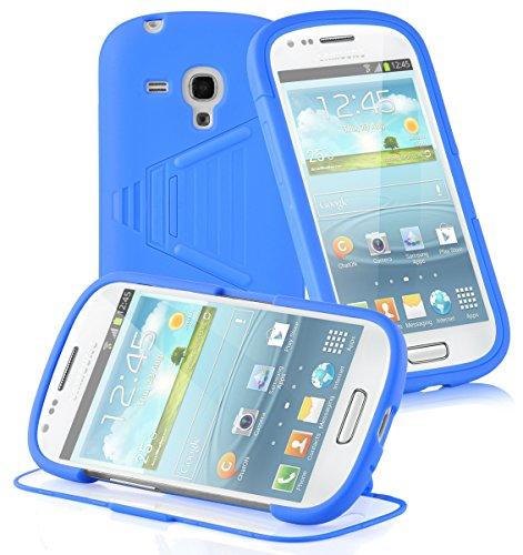 Cadorabo - TPU Silikon Schutz-Hülle (Full Body Rund-um-Schutz auch für das Display) für >          Samsung Galaxy S3 MINI          < - (I8190) in OXID-SCHWARZ ALKALI-BLAU