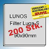 200x Original - Filter - Filtereinsatz für LUNOS LUGA-S und 2/GBF, 2/GVF, 2/ZSKA, ALD-R - Maße: 90x90mm - Ersatzfilter - Art.-Nr.: 037 052