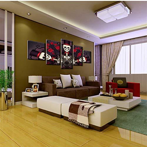 JinFengBaiHuo Leinwand Wandkunst Bilder Wohnzimmer 5 Stücke Schädel Gentleman Und Rosen Malerei Hd Drucke Halloween Poster Wohnkultur(Kein Rahmen)