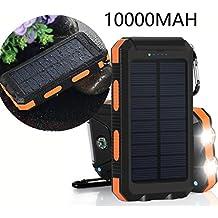 Cargador Solar, VivoStar 10000mAh Banco de la energía solar, con Brújula dos puertos USB LED Luz portátil de batería externa para Smartphones y Tablet como iPhone7, el iPhone, LG, Sony, Huawei,etc.